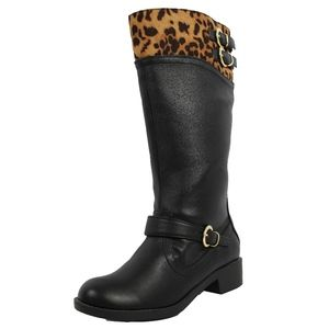 Girls Two Tone Leopard Black Knee High Riding Boot